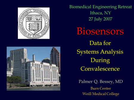 Biosensors Data for Systems Analysis DuringConvalescence Palmer Q. Bessey, MD Burn Center Weill Medical College Biomedical Engineering Retreat Ithaca,