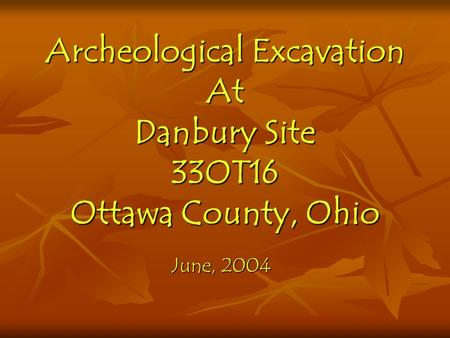 Archeological Excavation At Danbury Site 33OT16 Ottawa County, Ohio June, 2004.