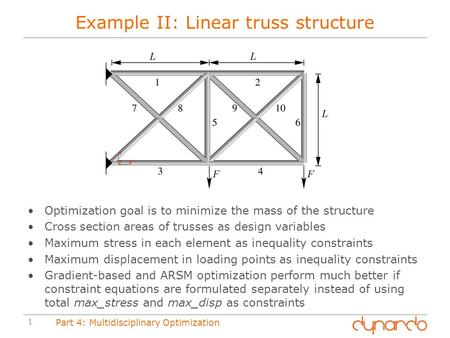 1 Part 4: Multidisciplinary Optimization Example II: Linear truss structure Optimization goal is to minimize the mass of the structure Cross section areas.