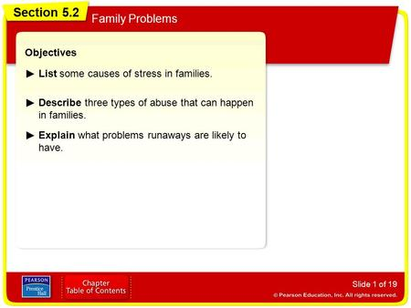 Section 5.2 Family Problems Slide 1 of 19 Objectives List some causes of stress in families. Describe three types of abuse that can happen in families.