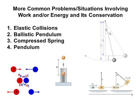 More Common Problems/Situations Involving Work and/or Energy and Its Conservation 1. Elastic Collisions 2. Ballistic Pendulum 3. Compressed Spring 4. Pendulum.