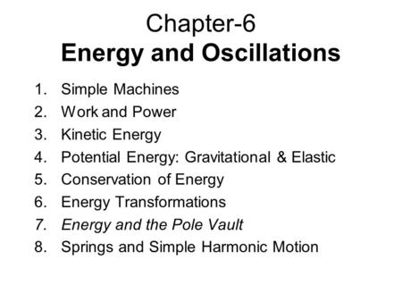 Chapter-6 Energy and Oscillations