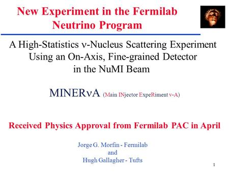 1 A High-Statistics -Nucleus Scattering Experiment Using an On-Axis, Fine-grained Detector in the NuMI Beam Jorge G. Morfín - Fermilab and Hugh Gallagher.