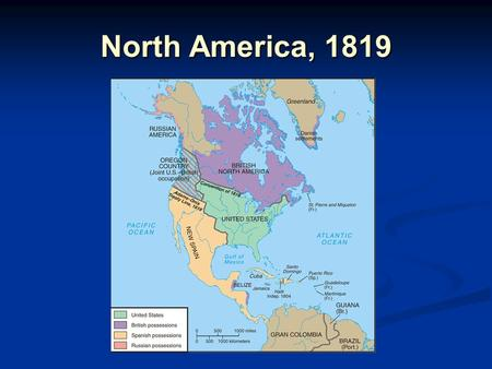 North America, 1819. Settlement to the Mississippi: Settlers Move In By 1840, over one-third of U.S. population lived west of the Appalachians By 1840,
