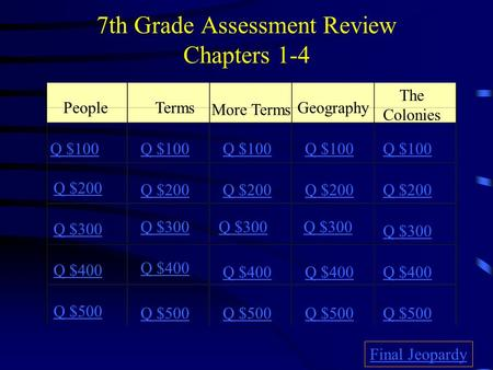 7th Grade Assessment Review Chapters 1-4 PeopleTerms More Terms Geography The Colonies Q $100 Q $200 Q $300 Q $400 Q $500 Q $100 Q $200 Q $300 Q $400.