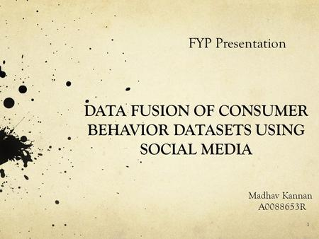 FYP Presentation DATA FUSION OF CONSUMER BEHAVIOR DATASETS USING SOCIAL MEDIA Madhav Kannan A0088653R 1.