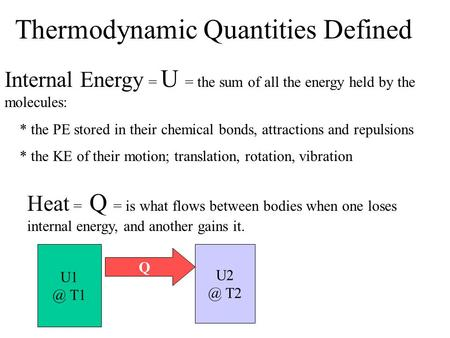 Thermodynamic Quantities Defined Internal Energy = U = the sum of all the energy held by the molecules: * the PE stored in their chemical bonds, attractions.