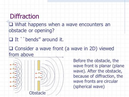 Diffraction  What happens when a wave encounters an obstacle or opening?  It ``bends'' around it.  Consider a wave front (a wave in 2D) viewed from.