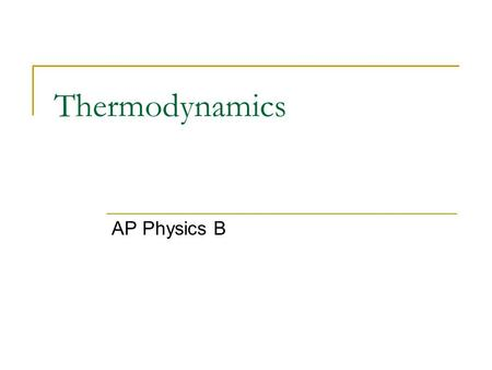 Thermodynamics AP Physics B. Thermal Equlibrium The state in which 2 bodies in physical contact with each other have identical temperatures. No heat flows.