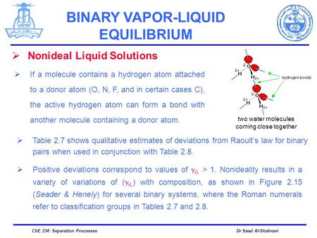 Dr Saad Al-ShahraniChE 334: Separation Processes  Nonideal Liquid Solutions  If a molecule contains a hydrogen atom attached to a donor atom (O, N, F,