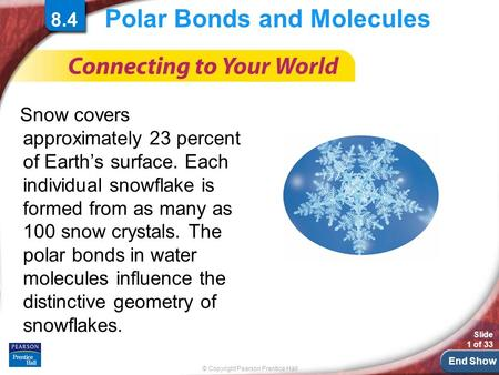 End Show © Copyright Pearson Prentice Hall Slide 1 of 33 Polar Bonds and Molecules Snow covers approximately 23 percent of Earth's surface. Each individual.