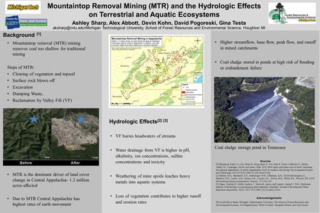 Mountaintop Removal Mining (MTR) and the Hydrologic Effects on Terrestrial and Aquatic Ecosystems Background [1] Mountaintop removal (MTR) mining removes.