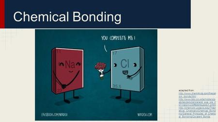 Chemical Bonding adapted from: http://www.chem4kids.com/files/atom_bonds.html http://www.bbc.co.uk/schools/gcsebitesize/science/add_aqa_pre_2011/atomic/differentsubrev1.shtml.