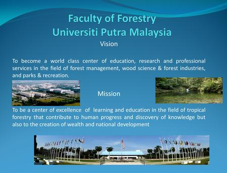 Vision To become a world class center of education, research and professional services in the field of forest management, wood science & forest industries,