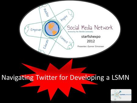 Navigating Twitter for Developing a LSMN starfishexpo 2012 Presenter: Gunnar Simonsen.
