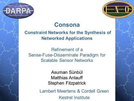 Lambert Meertens & Cordell Green Kestrel Institute 1 Consona Constraint Networks for the Synthesis of Networked Applications Refinement of a Sense-Fuse-Disseminate.