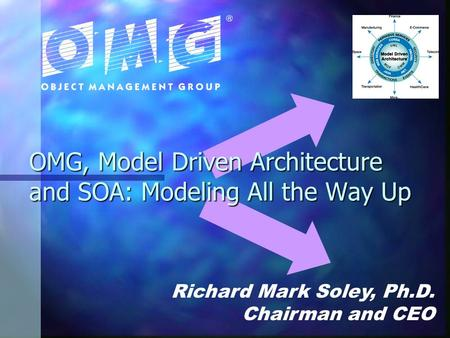 OMG, Model Driven Architecture and SOA: Modeling All the Way Up Richard Mark Soley, Ph.D. Chairman and CEO.