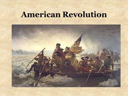 American Revolution. Was the founding of America creative? America.