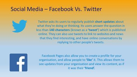 Social Media – Facebook Vs. Twitter Twitter asks its users to regularly publish short updates about what they're doing or thinking. Its users answer the.