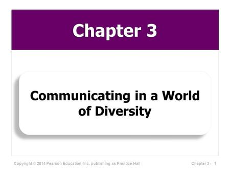 Chapter 3 Communicating in a World of Diversity Copyright © 2014 Pearson Education, Inc. publishing as Prentice Hall 1Chapter 3 -