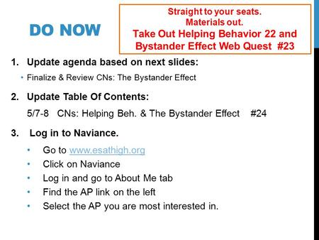 Take Out Helping Behavior 22 and Bystander Effect Web Quest #23