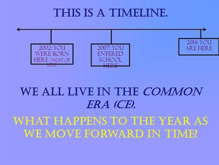 2014: You are here 2007: You entered school here This is a timeline. 2002: You were born here (most of you) We all live in the common era (CE). What happens.