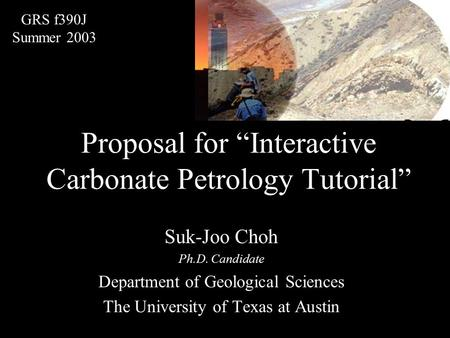 "Proposal for ""Interactive Carbonate Petrology Tutorial"" Suk-Joo Choh Ph.D. Candidate Department of Geological Sciences The University of Texas at Austin."