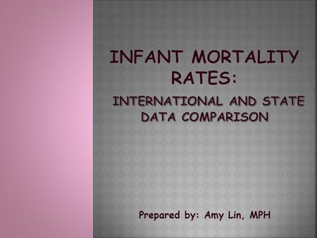 Prepared by: Amy Lin, MPH. INFANT DEATHS PER 1,000 LIVE BIRTHS, BY STATE: 2010 1. Mississippi 9.62 14. Michigan7.12 2. Alabama 8.7315. South Dakota7.11.