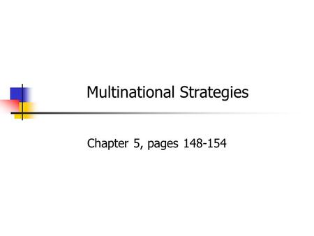 Multinational Strategies Chapter 5, pages 148-154.