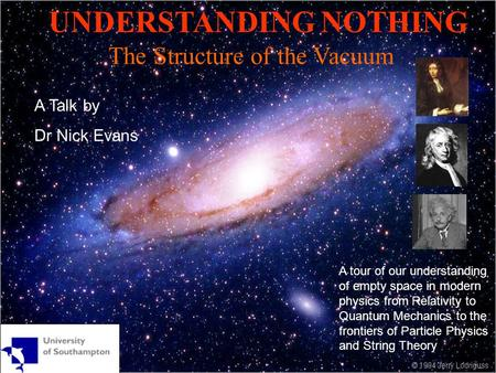 UNDERSTANDING NOTHING The Structure of the Vacuum A Talk by Dr Nick Evans A tour of our understanding of empty space in modern physics from Relativity.