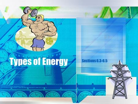 Types of Energy Sections 6.3-6.5. What is energy? Energy is the ability to do work Like work, energy is measured in joules (J) What are some examples.