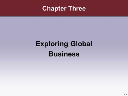 3| 1 Chapter Three Exploring Global Business. 3 | 2 Learning Objectives 1.Explain the economic basis for international business. 2.Discuss the restrictions.