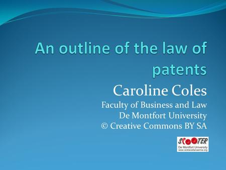 Caroline Coles Faculty of Business and Law De Montfort University © Creative Commons BY SA.