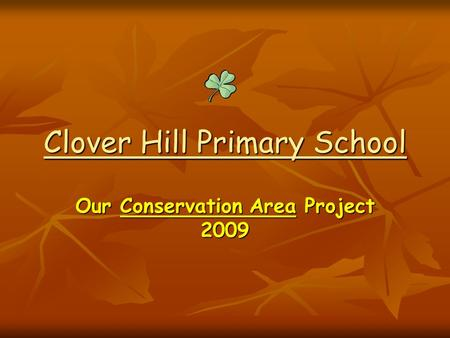 Clover Hill Primary School Our Conservation Area Project 2009.