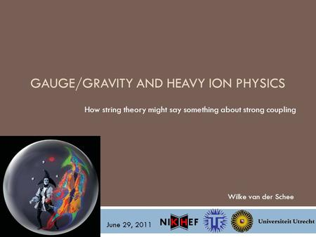 GAUGE/GRAVITY AND HEAVY ION PHYSICS How string theory might say something about strong coupling Wilke van der Schee June 29, 2011.