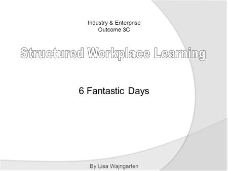 Industry & Enterprise Outcome 3C By Lisa Wajngarten 6 Fantastic Days.
