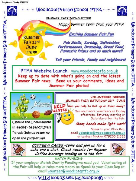Chewie the Chewitsaurus is leading the Fancy Dress Parade Join us at 1pm to open the Summer Fair ~ ~ ~ Woodcote Primary School PTFA ~ ~ ~ ~ ~ Woodcote.