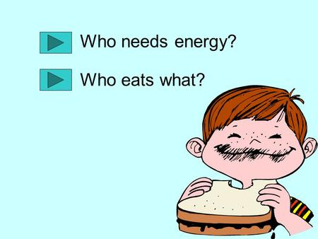 Who needs energy? Who eats what?. Have you ever heard someone say that you are full of energy? All living things need energy to survive. Where do you.