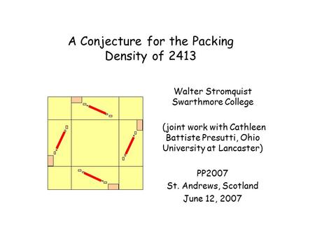 A Conjecture for the Packing Density of 2413 Walter Stromquist Swarthmore College (joint work with Cathleen Battiste Presutti, Ohio University at Lancaster)