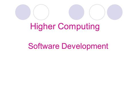 Higher Computing Software Development. Software Development Process There are 7 main stages involved in developing a new software program: Analysis Design.