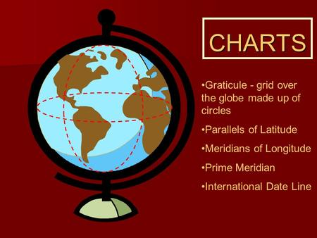 CHARTS Graticule - grid over the globe made up of circles Parallels of Latitude Meridians of Longitude Prime Meridian International Date Line.