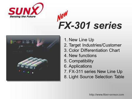 1. New Line Up 2. Target Industries/Customer 3. Color Differentiation Chart 4. New functions 5. Compatibility 6. Applications 7. FX-311 series New Line.