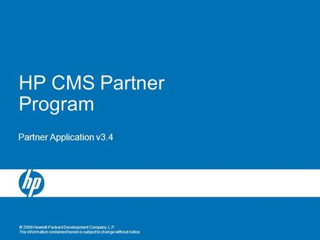 HP CMS Partner Program Partner Application v3.4.