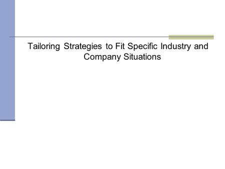 Tailoring Strategies to Fit Specific Industry and Company Situations.