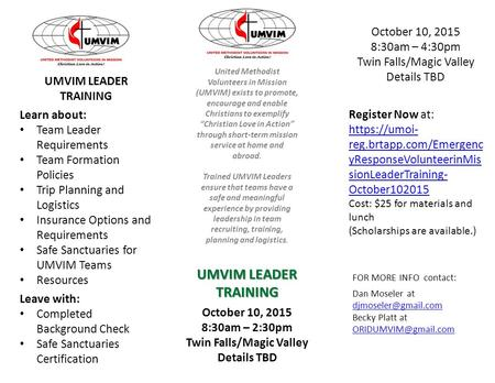FOR MORE INFO contact: Dan Moseler at  Becky Platt at  October 10, 2015 8:30am.