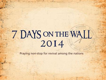 Calling the whole Church to take 7 DAYS in 2015 to PRAY NIGHT AND DAY for spiritual breakthrough in South Africa!