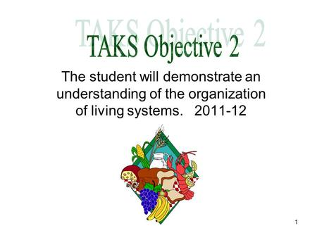 1 The student will demonstrate an understanding of the organization of living systems. 2011-12.