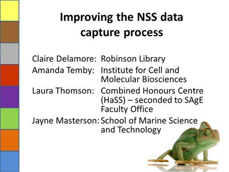 Improving the NSS data capture process Claire Delamore: Robinson Library Amanda Temby: Institute for Cell and Molecular Biosciences Laura Thomson: Combined.