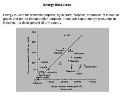 Energy Resources Energy is used for domestic purpose, agricultural purpose, production of industrial goods <strong>and</strong> for the transportation purpose. In fact.