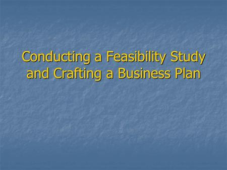 Conducting a Feasibility Study and Crafting a Business Plan.